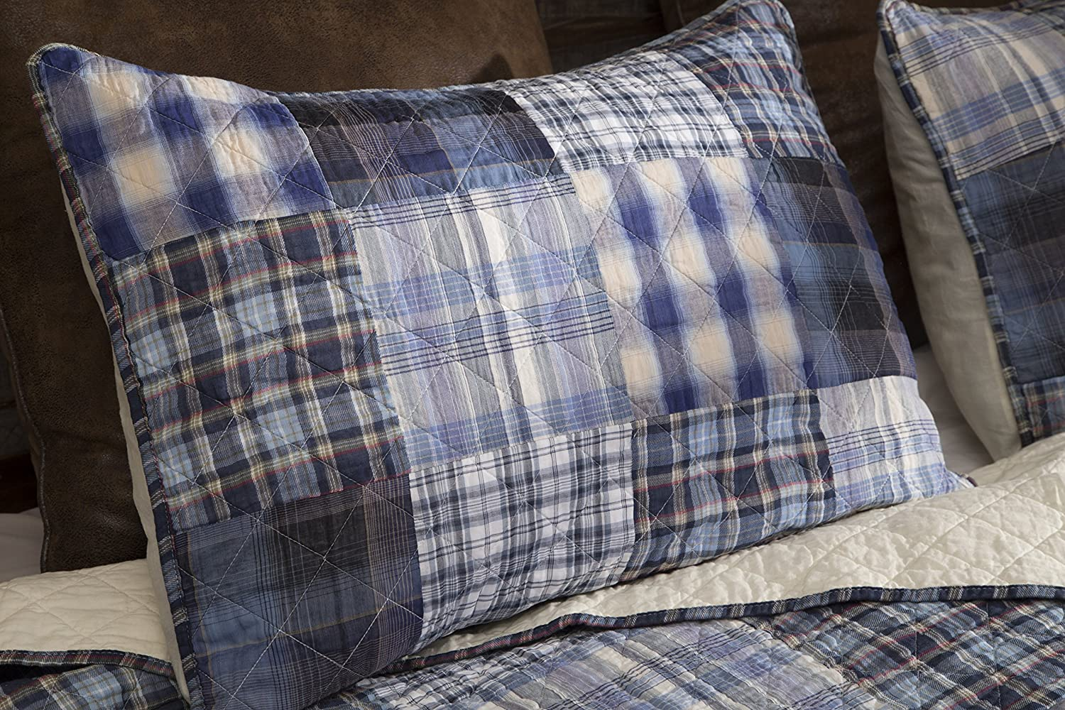 Carstens Plaid Yarn-Dyed Pieced Patchwork/100/% Cotton Quilt Set King