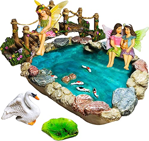 Fairy Garden Fish Pond Kit – Miniature Bridge Fairy Garden Figurines with Accessories – Hand Painted Set of 6 pcs for Outdoor or House Decor