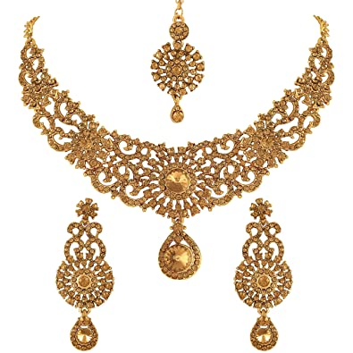 3d672ee62 Buy Vatsalya Creation Traditional Diamond Necklace Set Gold Plated For  Women s Online at Low Prices in India