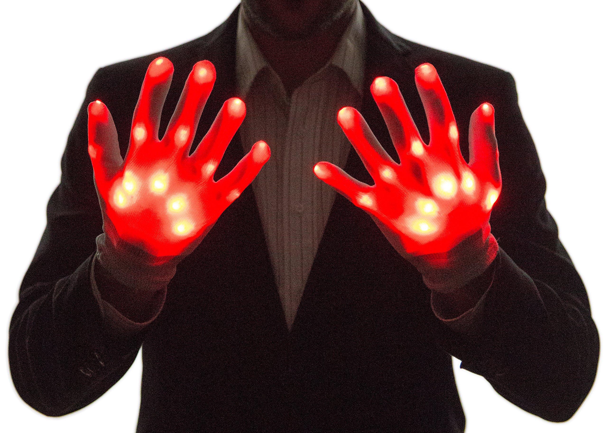 Neon Nightlife Light Up Gloves for Kids, LED, Red