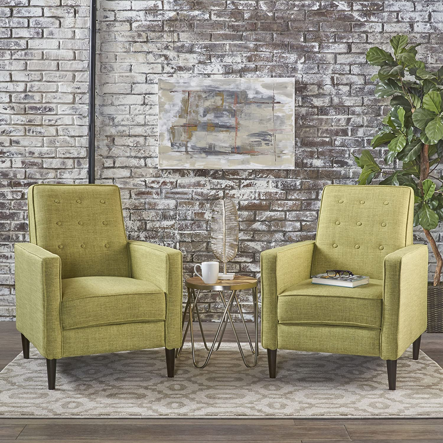 Christopher Knight Home 301376 Mason Mid-Century Modern Tuft Back Recliner (Qty of 2, Fabric/Muted Green), Set of 2