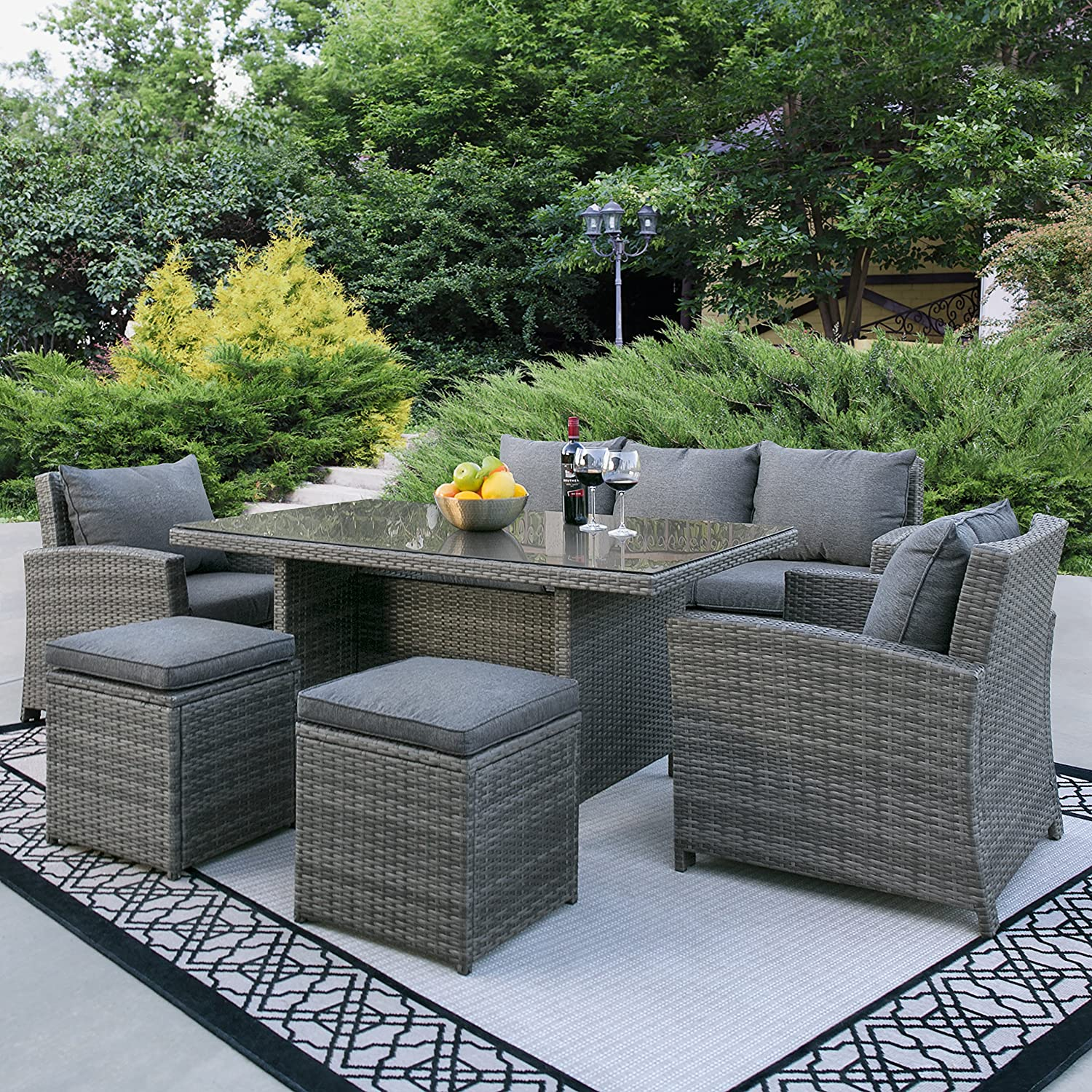 Amazon com best choice products complete outdoor living patio furniture 6 piece wicker dining sofa set grey garden outdoor
