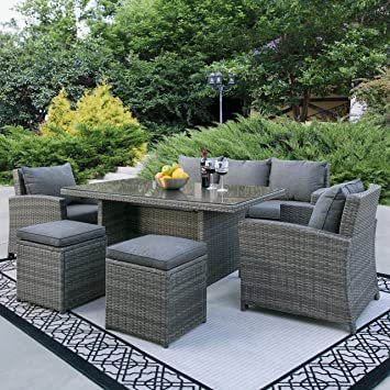 Best Choice Products Complete Outdoor Living Patio Furniture 6 Piece Wicker  Dining Sofa Set (