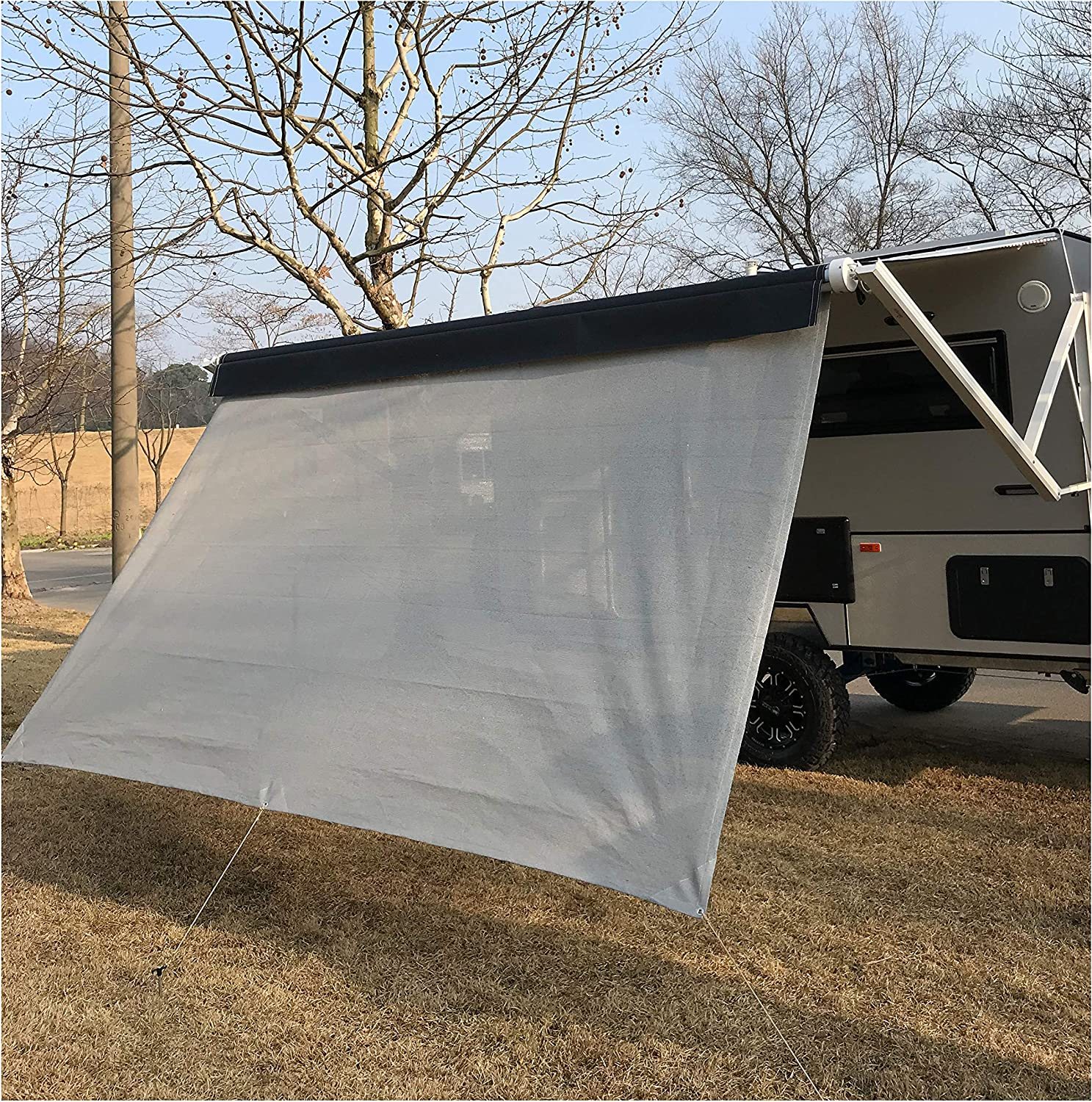 Blue, Right Side Wall RV Awning Privacy Sun Shade Screen Complete Kits with UV Block