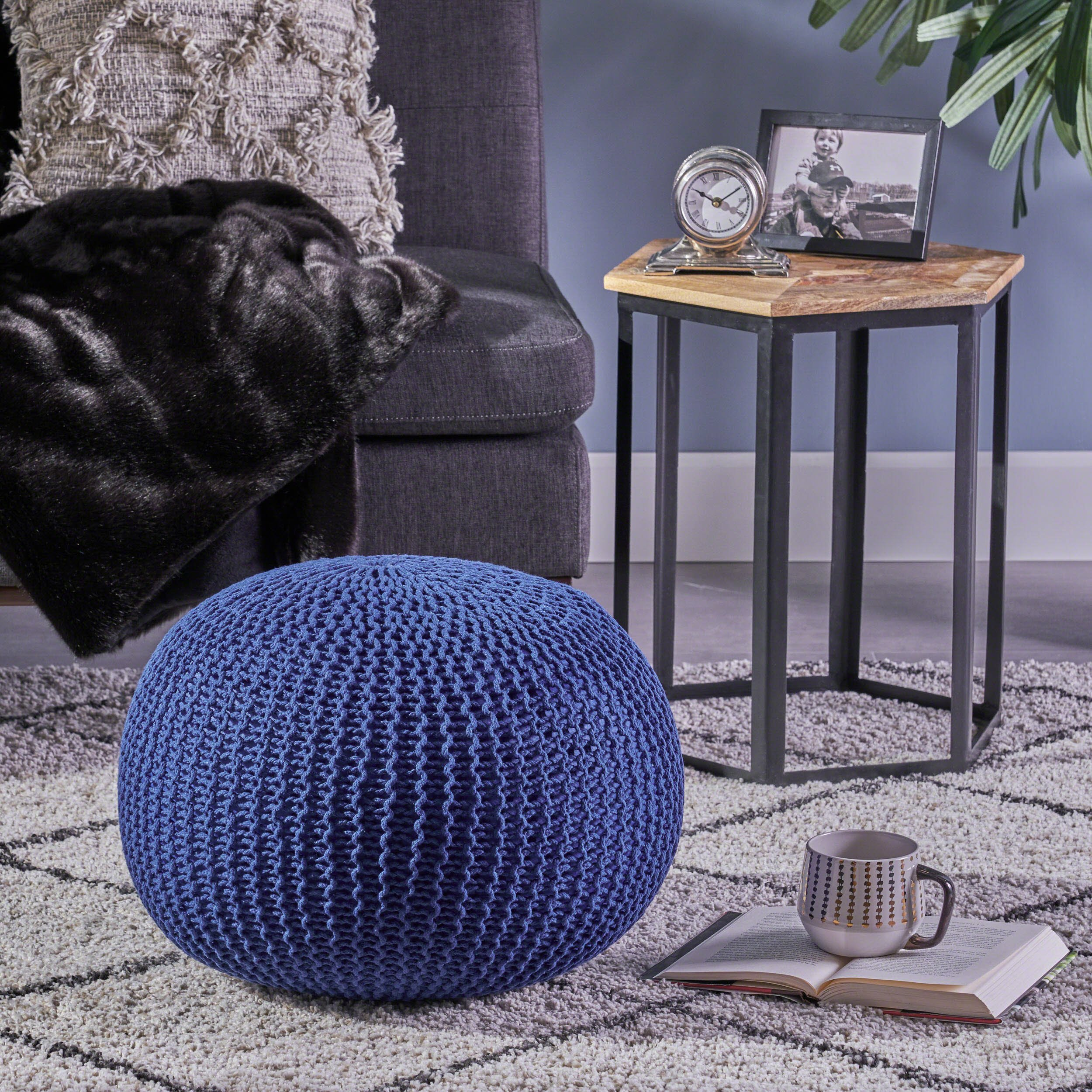 Belle Knitted Cotton Pouf, Navy by Great Deal Furniture