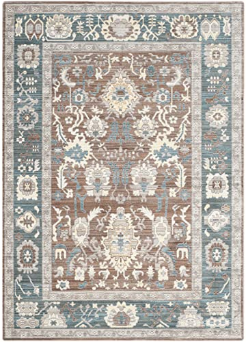 Safavieh Valencia Collection VAL122B Chocolate and Alpine Vintage Distressed Silky Polyester Area Rug 5 x 8