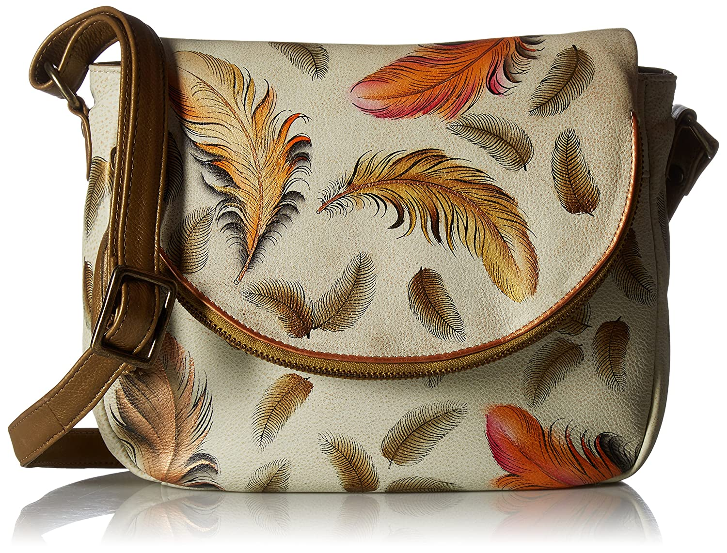 Ifloating Feathers Ivory Anuschka Handpainted Leather FlapOver Congreenible,Floating Feathers Ivory