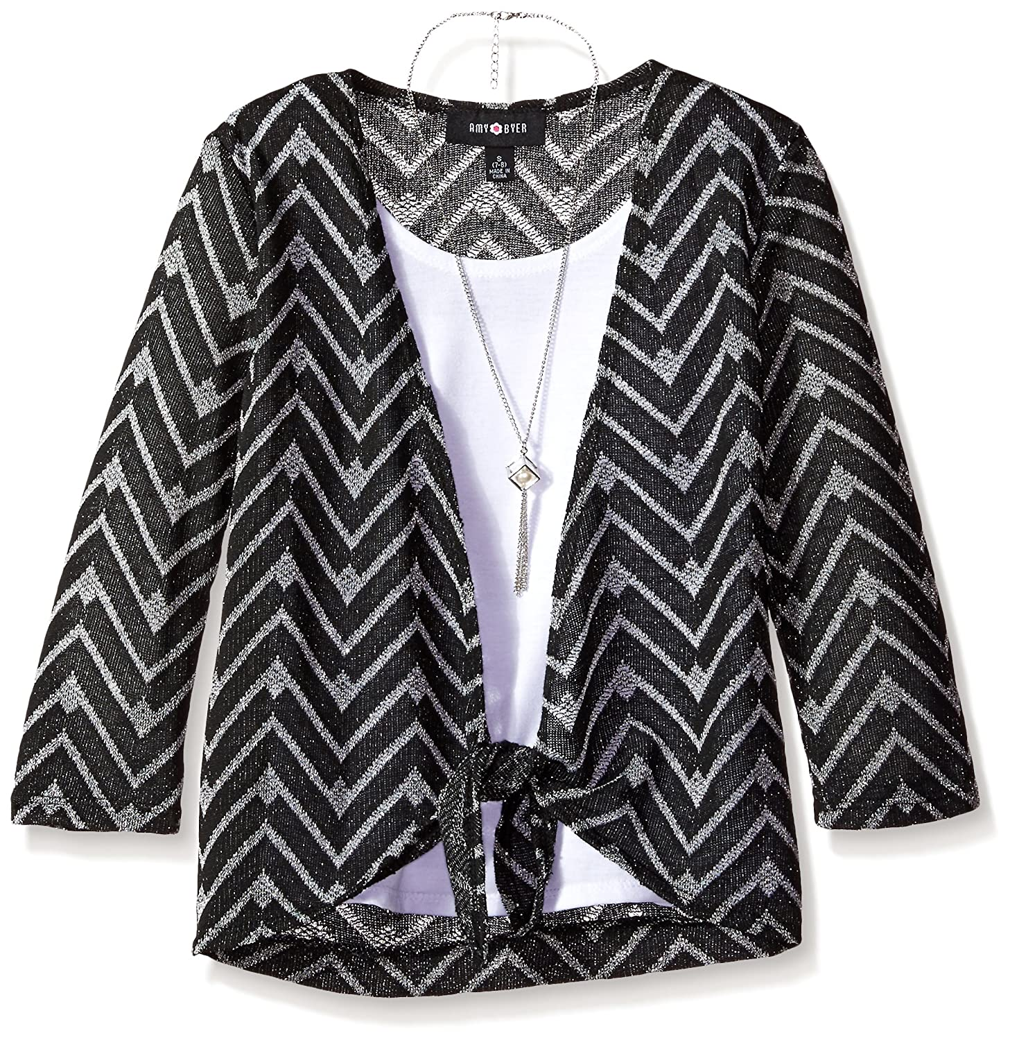 Amy Byer Big Girls' Tie-Front Sweater Top with Layering Tank and Necklace