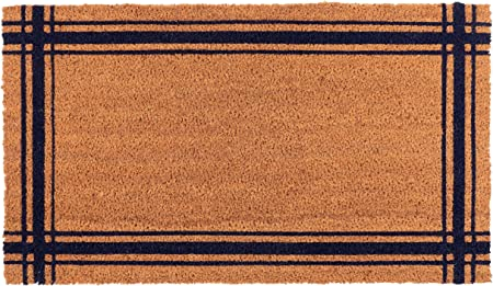New Kaf Home Coir Doormat With Heavy Duty Weather Resistant Non Slip Pvc Backing 17 By 30 Inches 0 6 Inch Pile Height Perfect For Indoor And Outdoor Use Blue Lyon Stripe