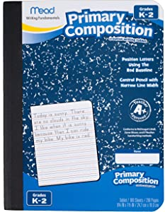 Mead Primary Composition Notebook, Wide Ruled Comp Book, Lined Paper, Grades K-2 Writing Workbook, Dotted Notebook Perfect for Home School Supplies, 100 Sheets, Blue Marble