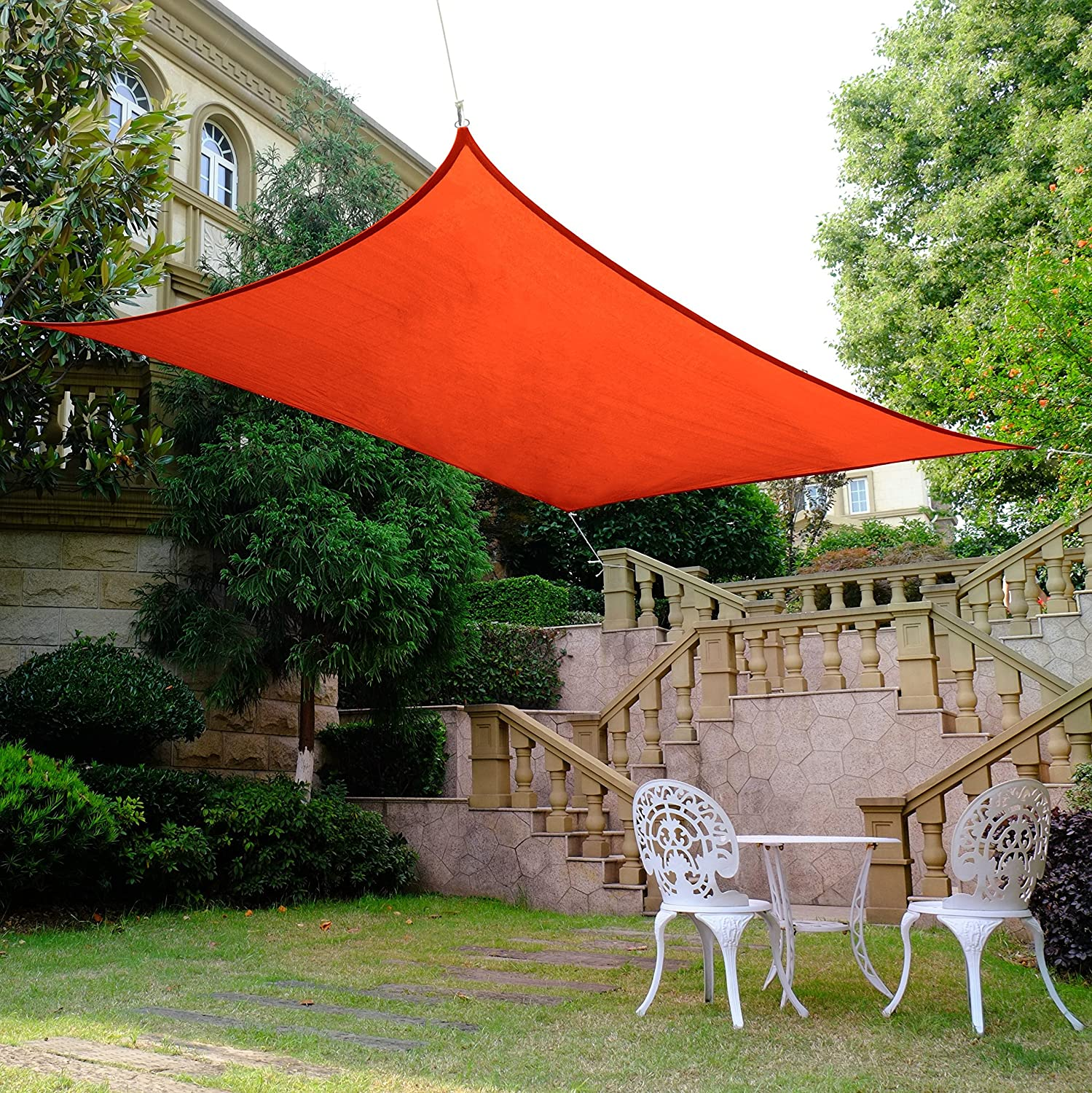 Quictent 185HDPE Rectangle Sun Shade Sail Outdoor Patio Lawn Garden Canopy Top Cover 98 UV-Blocked 13 x 10 ft, Red