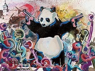 Panda Armata Banksy Tribute Street Art Dipinto Originale Fatto A Mano