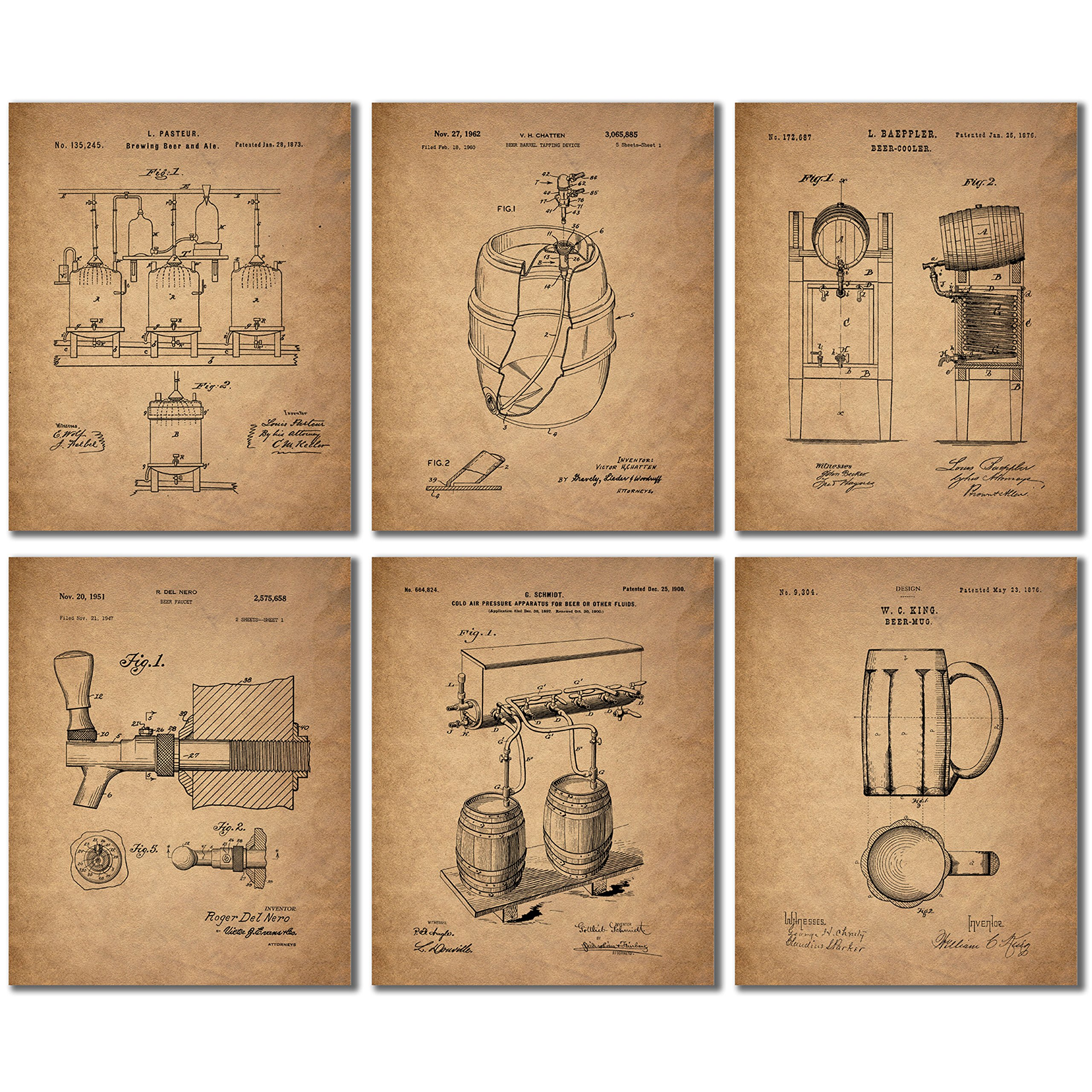 Beer Patent Wall Art Prints - Set of Six Vintage Bar Photos by BigWig Prints