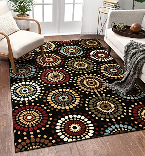 Blossom Valley Black Multi Floral Nature Modern Casual Area Rug 9×13 9'3″ x 12'6″ Easy to Clean Stain Fade Resistant Shed Free Abstract Retro Geometric Pattern Soft Living Dining Room Rug