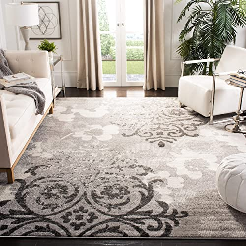 Safavieh Adirondack Collection ADR114B Silver and Ivory Contemporary Chic Damask Area Rug 9 x 12