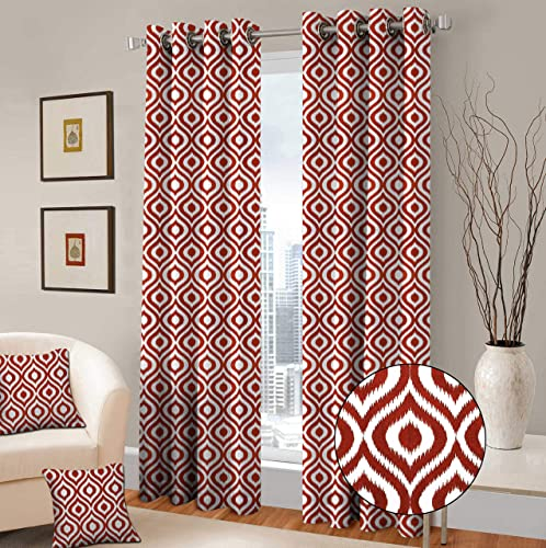 TreeWool Decorative Grommet Curtains Panels Ogee Ikat Accent Pure Cotton Drapes for Living Room Bedroom Window Treatment Set of 2 Panels, 48 x 96 Inch, Rust