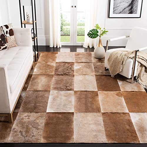 Safavieh Studio Leather Collection STL168A Handmade Beige and Brown Leather Area Rug 8 x 10