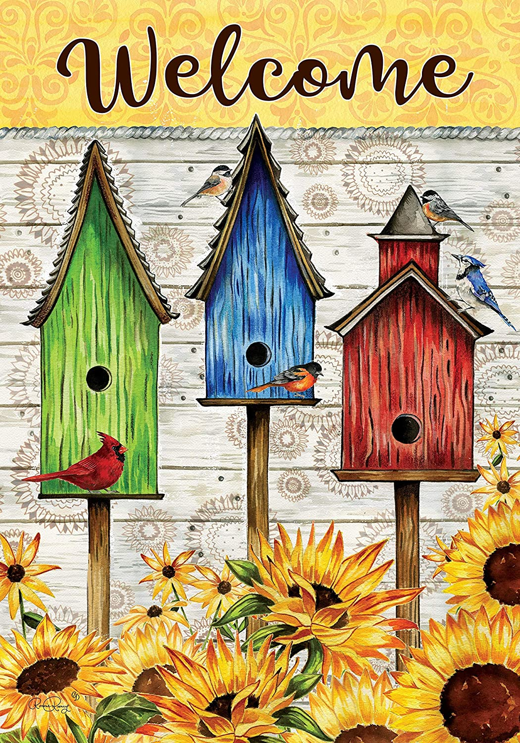 Custom Decor Sunny Birdhouse Welcome - Garden Size, Decorative Double Sided, Licensed and Copyrighted Flag - Printed in The USA Inc. - 12 Inch X 18 Inch Approx. Size