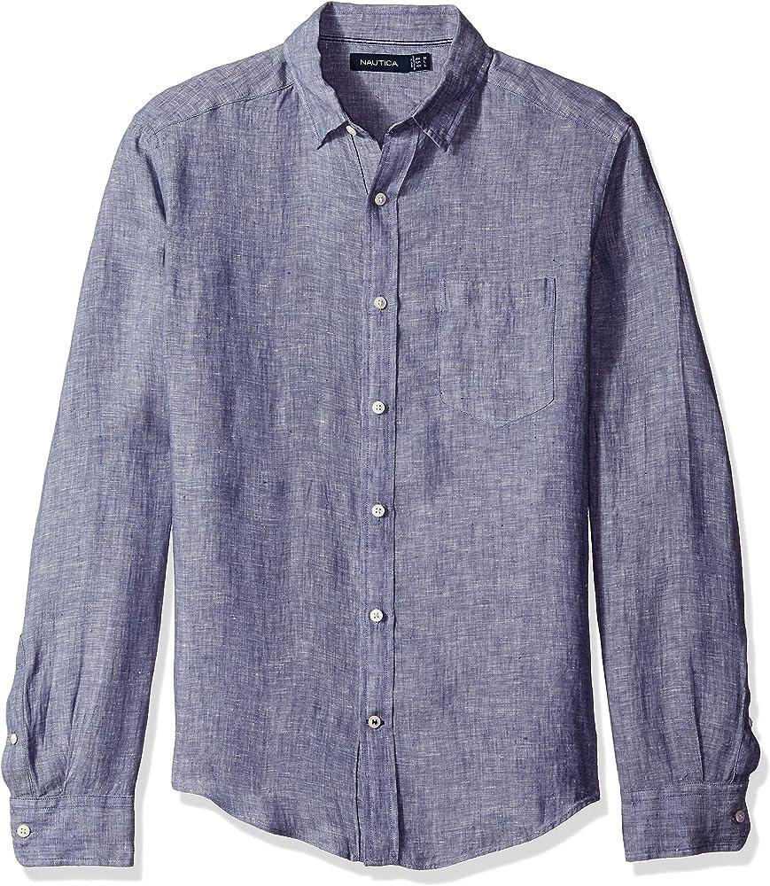 Nautica Camisa de lino de manga larga de color sólido con botones - Azul - X-Small: Amazon.es: Ropa y accesorios