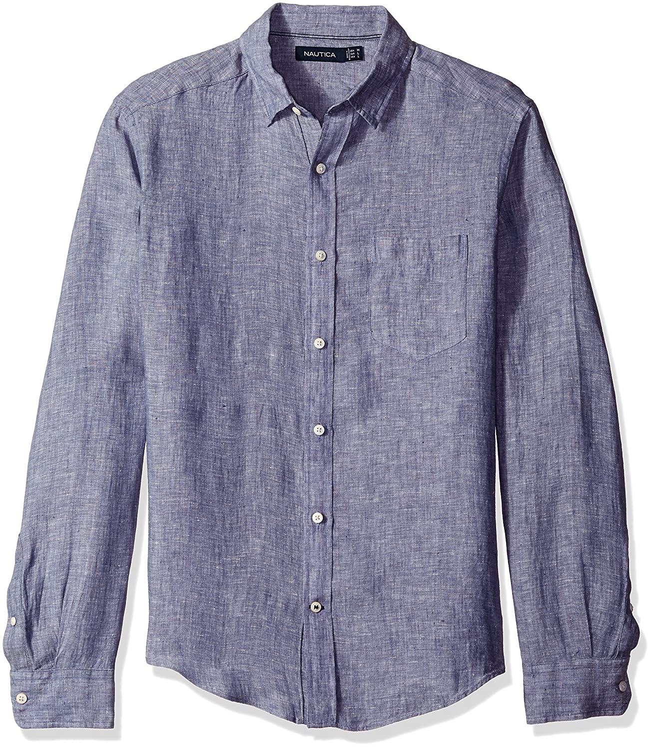 Nautica Mens Long Sleeve Solid Color Button Down Linen Shirt At