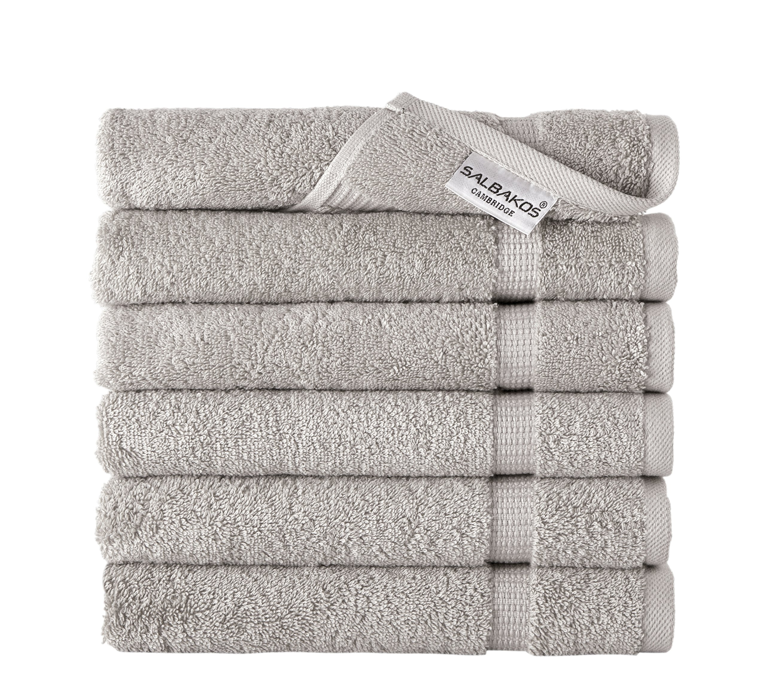 SALBAKOS Luxury Hotel & Spa Turkish Cotton 6-Piece Eco-Friendly Hand Towel Set 16 x 30 Inch, The Silver Gray Color