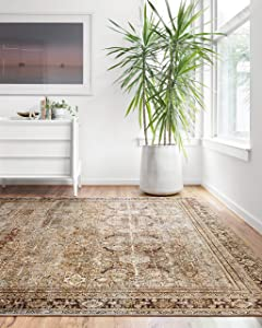 """Loloi II Layla Collection Area Rugs, 7'-6"""" x 9'-6"""", OLIVE/CHARCOAL"""