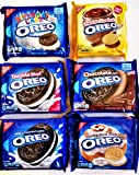 OREO COOKIES Ultimate WINTER VARIETY PACK. 6 Full Packs: CHOCOLATE HAZELNUT, CINNAMON BUN, BIRTHDAY CAKE FLAVORED CREME, ORIGINAL, DOUBLE STUFF, CHOCOLATE CREME.
