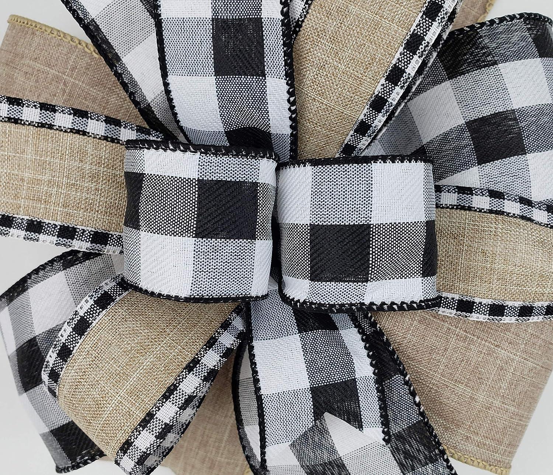 9.5\u201d Tan White and Black Check Lantern Bow  Wreath Bow  Mailbox Bow
