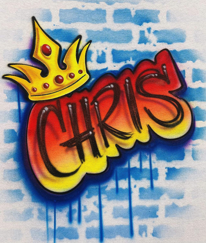 Golden Crown on Brick Wall Old School Hip Hop Hoodie Sweatshirt Airbrush Graffiti Red Orange Yellow