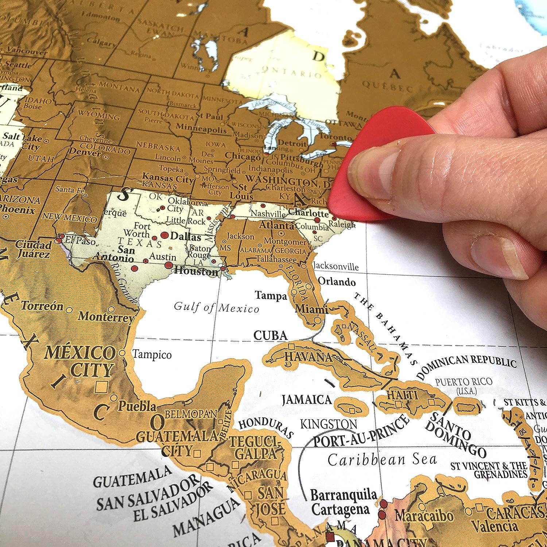 Póster Scratch the World®, rasca tu mapa del mundo, con cartografía detallada, tamaño grande, 84,5 x 59,7 cm: Amazon.es: Oficina y papelería
