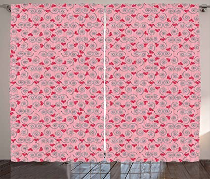 Amazon.com: Ambesonne Valentine`s Day Curtains, Abstract Composition ...