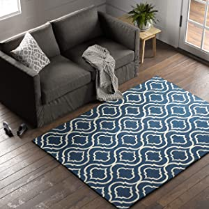 Stone & Beam Contemporary Hourglass Wool Area Rug, 5 x 7 Foot, Navy
