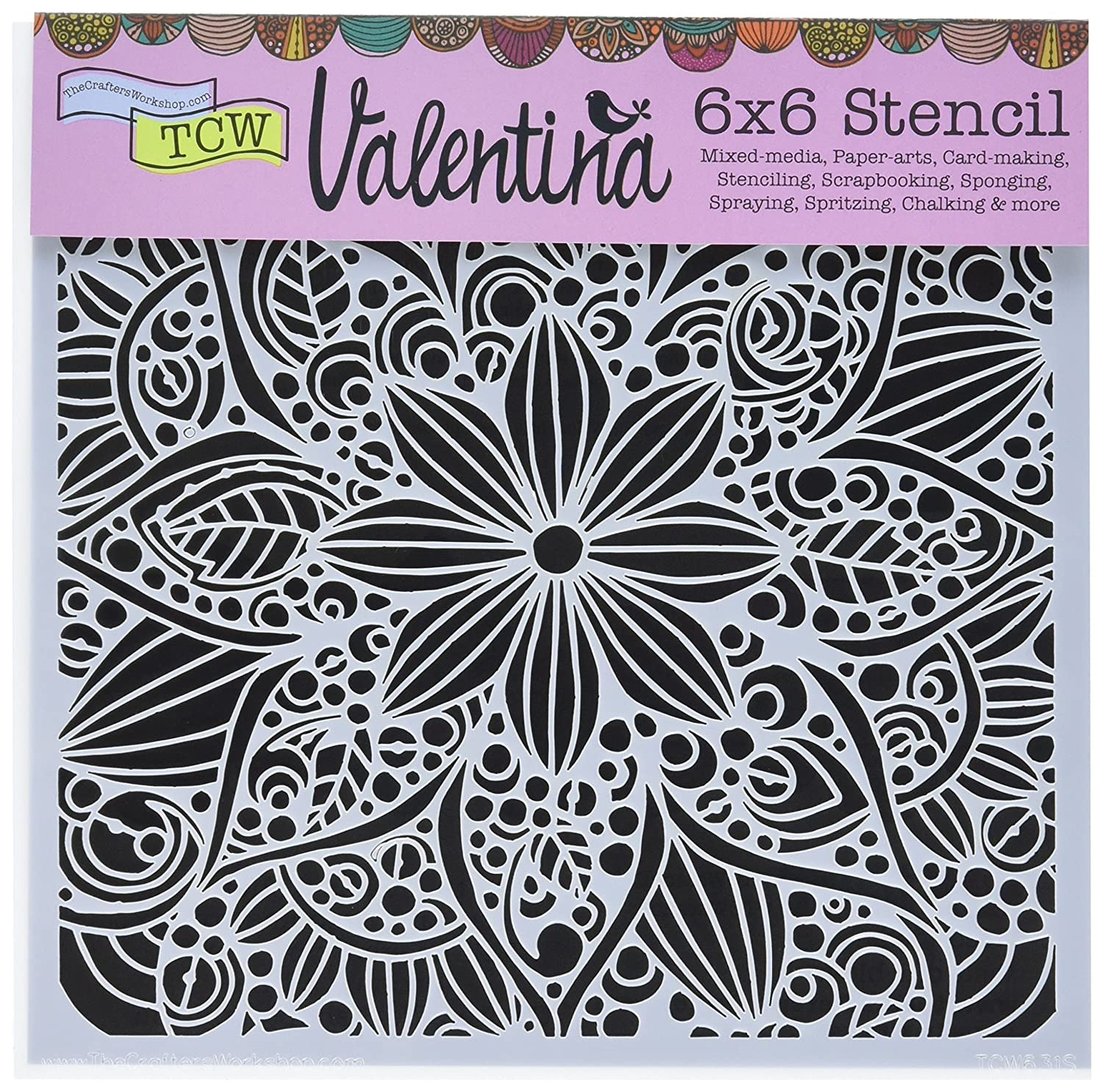 CRAFTERS WORKSHOP Crafters Workshop TCW631S Template, 6 x 6, Doodle Bloom, White 6 x 6