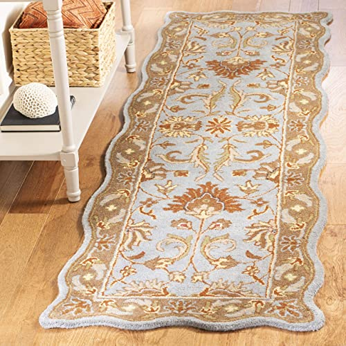 Safavieh Heritage Collection HG822A Handcrafted Traditional Oriental Blue and Beige Wool Scallop Area Rug 2 3 x 4