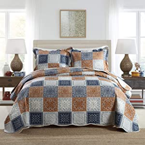Travan 3-Piece King Quilt Sets Patchwork Bedspreads with Shams Microfiber Lightweight Oversized Bedding Coverlet Set
