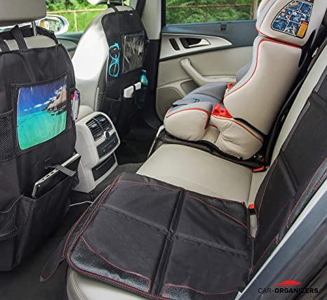Car Seat Protector With Thick Padding For Under Baby Booster 2pcs Backseat Organizer Kick Mat