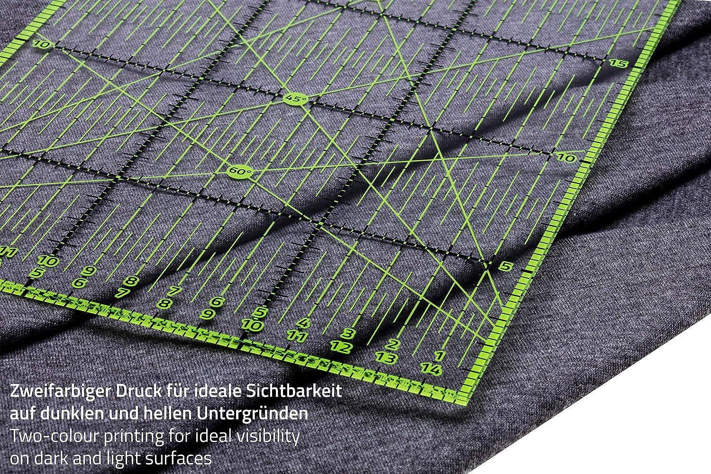 Guss /& Mason Patchwork Lineal 60x15cm mit gratis Anti Rutsch Aufklebern Transparentes Universal Lineal mit cm und Winkel-Ma/ßen