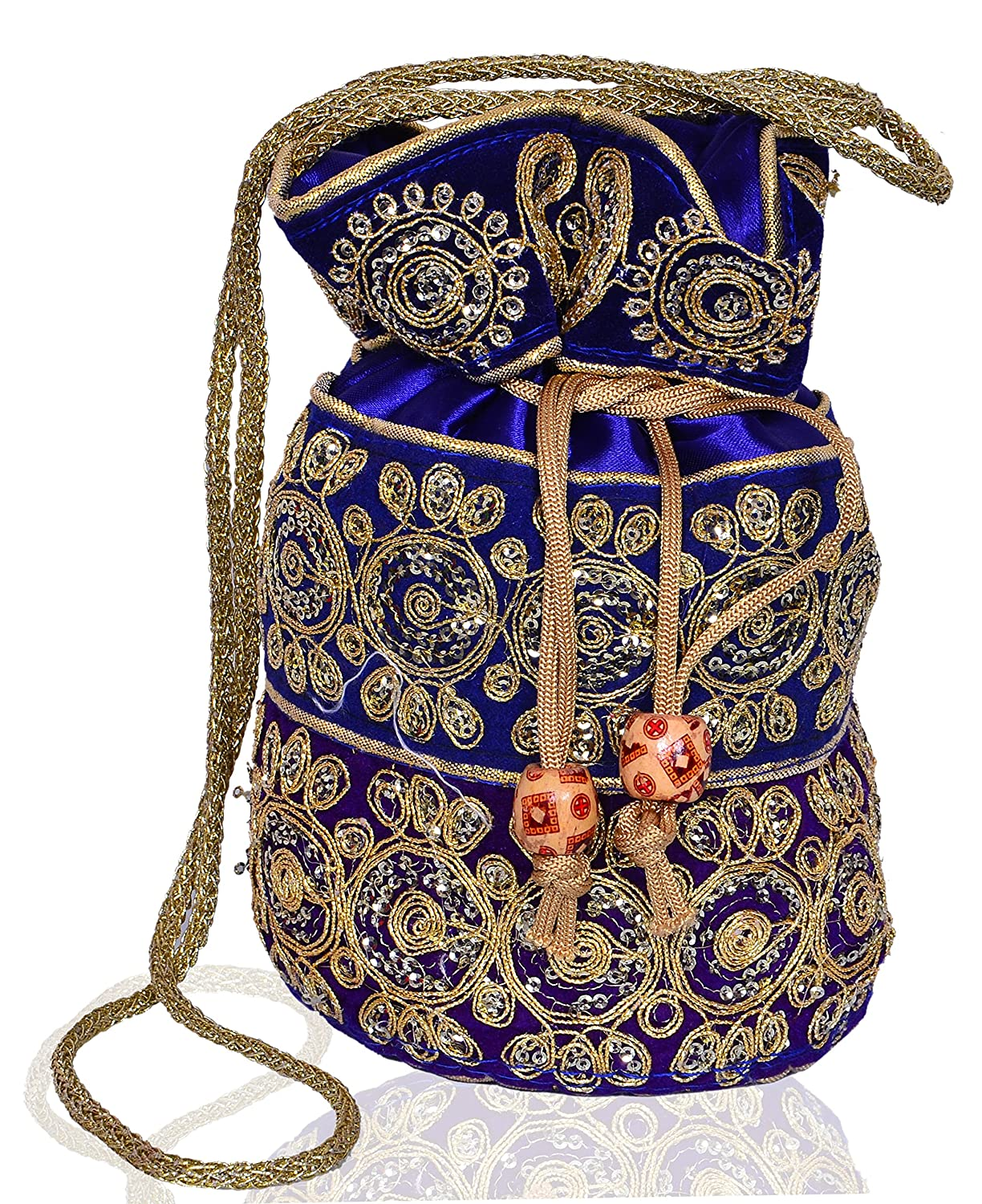 Vintage & Retro Handbags, Purses, Wallets, Bags Purpledip Potli Bag (Clutch Drawstring Purse) For Women With Intricate Gold Thread & Sequin Embroidery Work $12.99 AT vintagedancer.com
