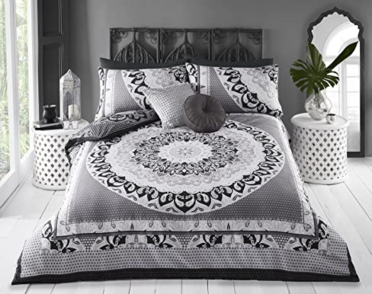 pieridae paisley mandala duvet cover u0026 pillowcase set bedding bedroom daybed cover double grey