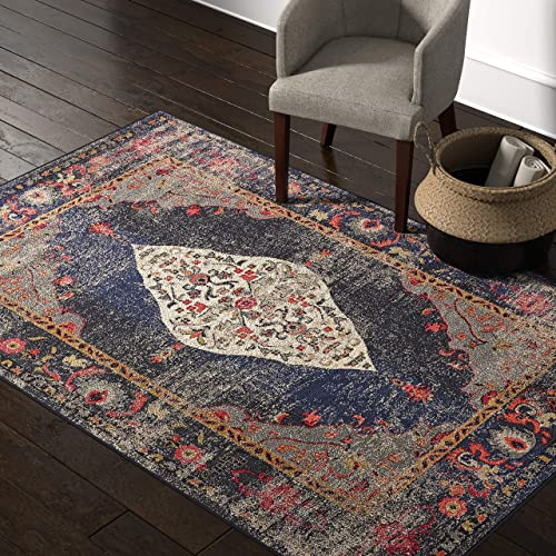 Rivet Distressed Color Medallion Area Rug, 5 3 x 7 7 , Navy