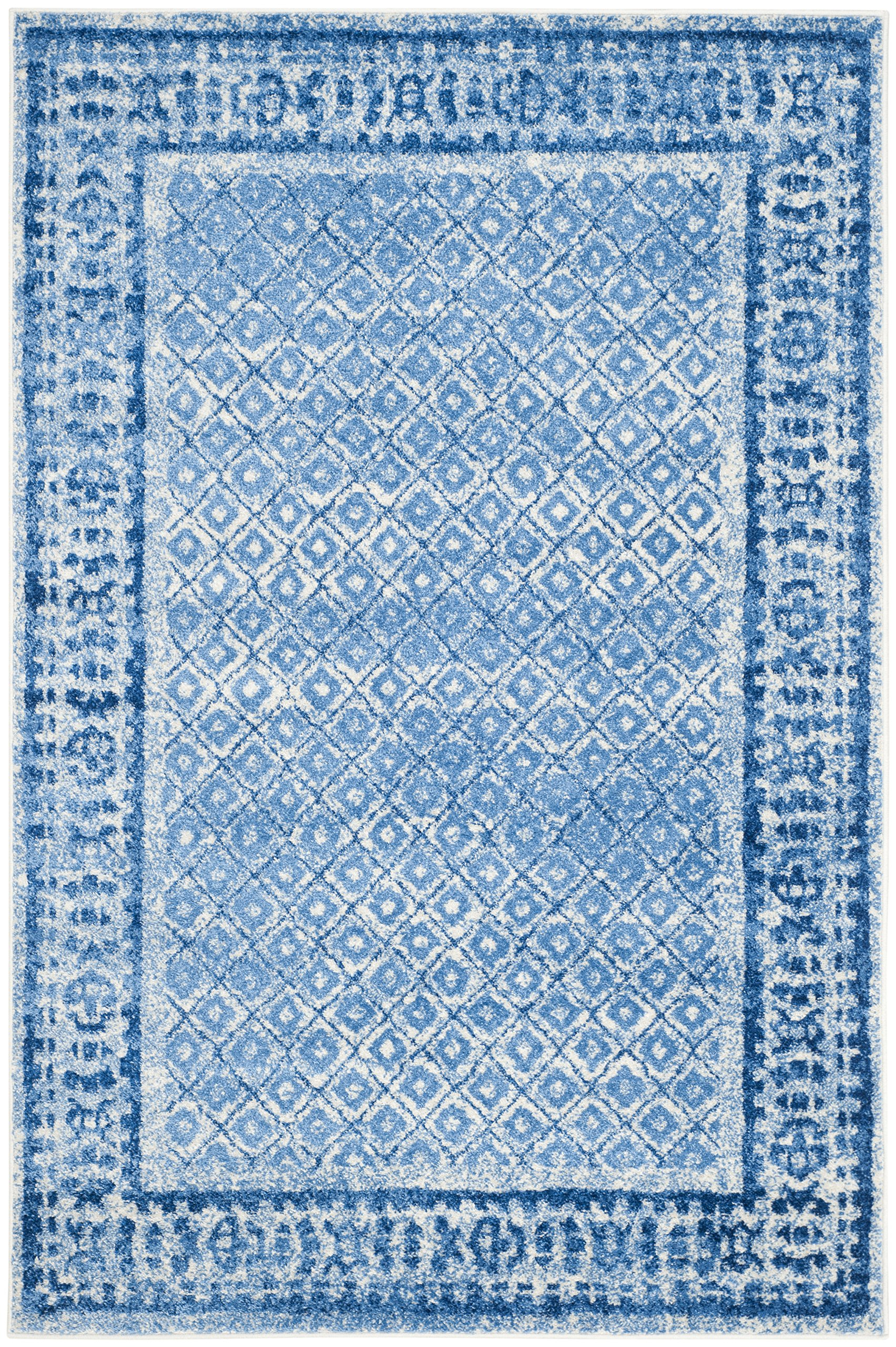 "Safavieh Adirondack Collection ADR110D Silver and Blue Vintage Distressed Area Rug (2'6"" x 4') - High-quality polypropylene pile fiber, known for its legendary durability and endurance, adds longevity to these rugs Refined power-loomed construction allows for an intricate design and a virtually non-shedding rug Works well with both vintage and contemporary styles of décor - living-room-soft-furnishings, living-room, area-rugs - A1NKJvx25YL -"