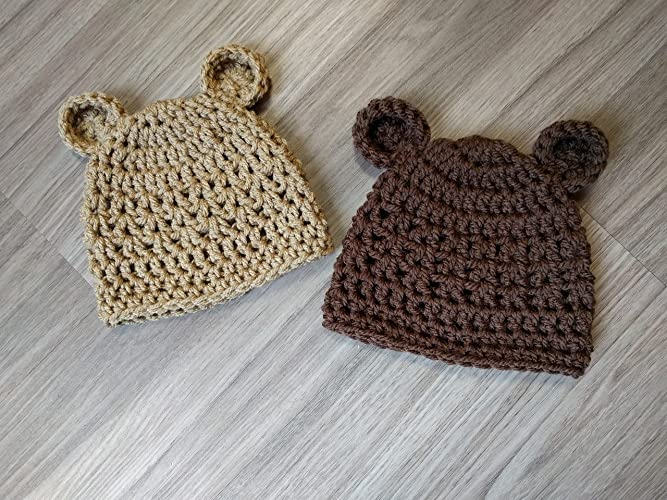 c472d9938e8 ONE Newborn Teddy Bear Hat Photo Prop HANDMADE in the U.S.A Size options  Preemie to 6 months Photo Hat for Newborn pictures Crochet Baby Boy or  Gender ...