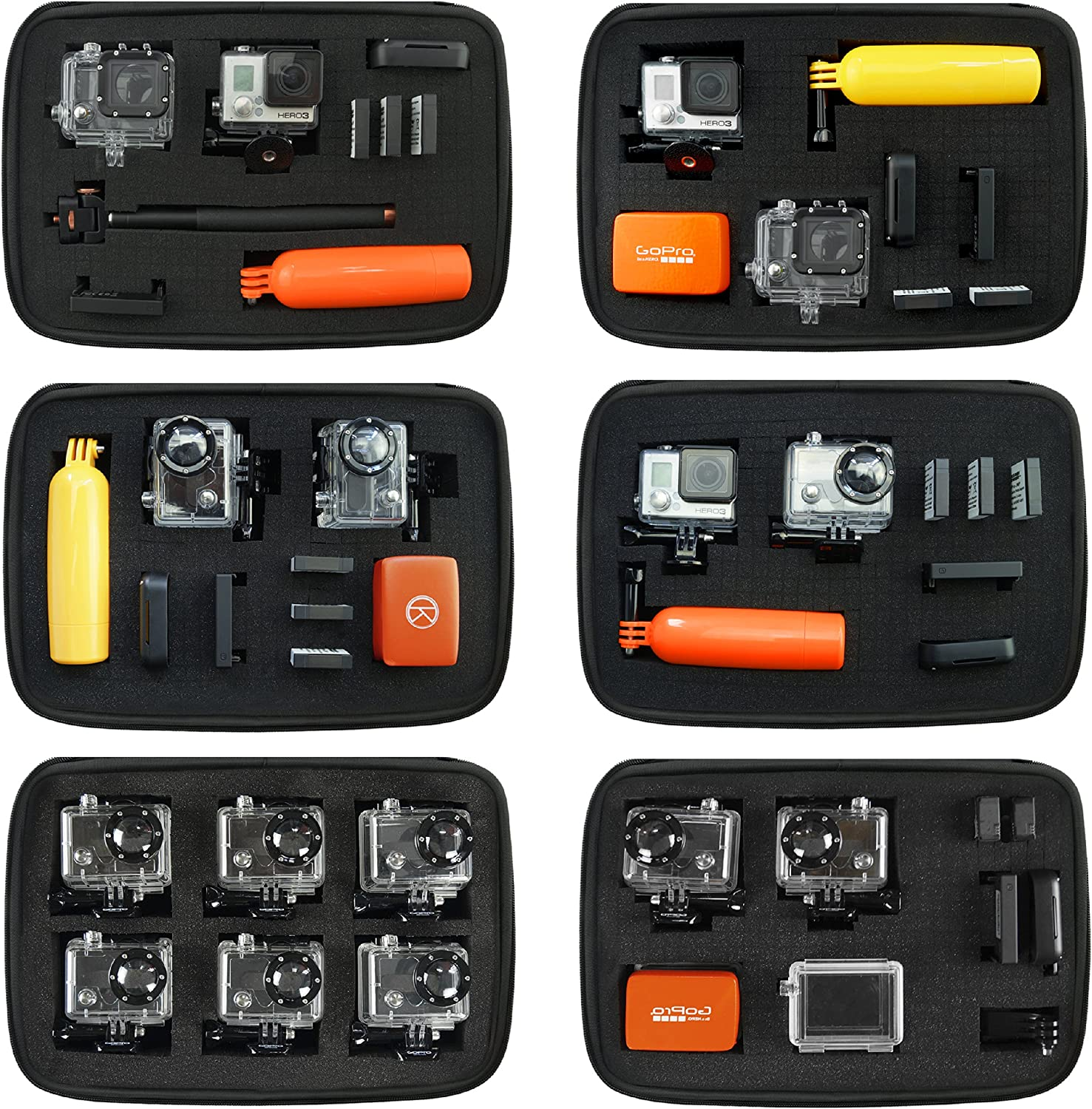 CAMKIX Customizable Magic Foam Medium Case 3+ 6 Silver Tailor The Foam to Your Unique Needs Session 3 1 and DJI Osmo Action Hero 4 2 5 Gopro Hero 7 Session Hero+ LCD Black Black