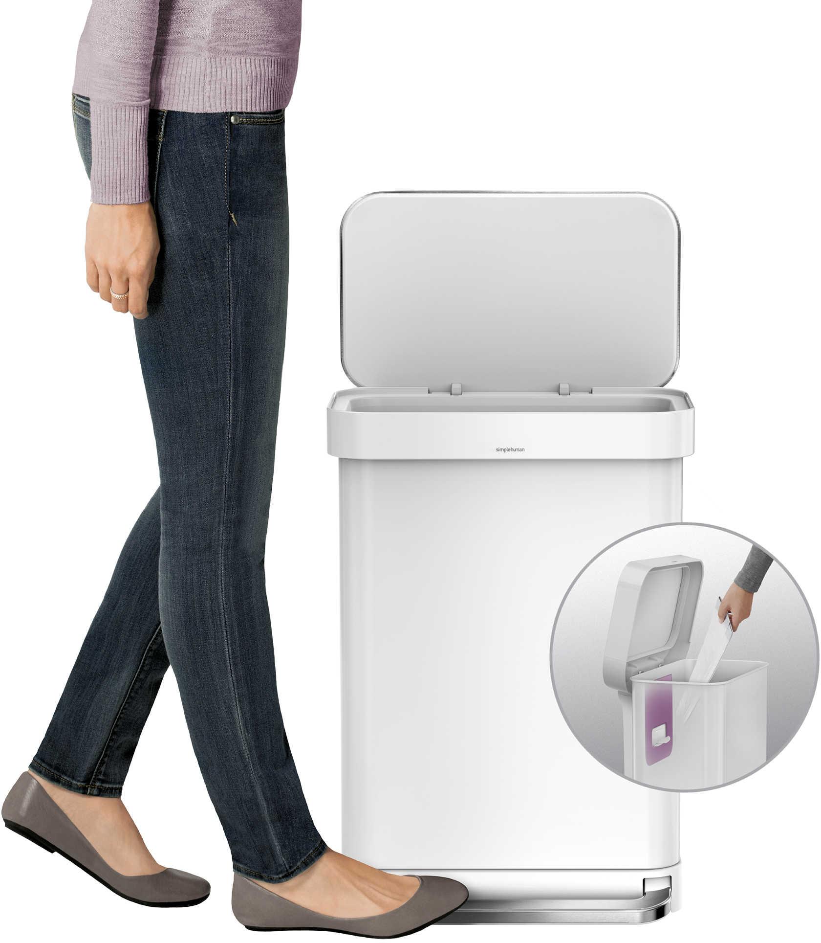 simplehuman® 45-Liter Rectangular Liner Rim Step Can with Liner Pocket - BedBathandBeyond.com