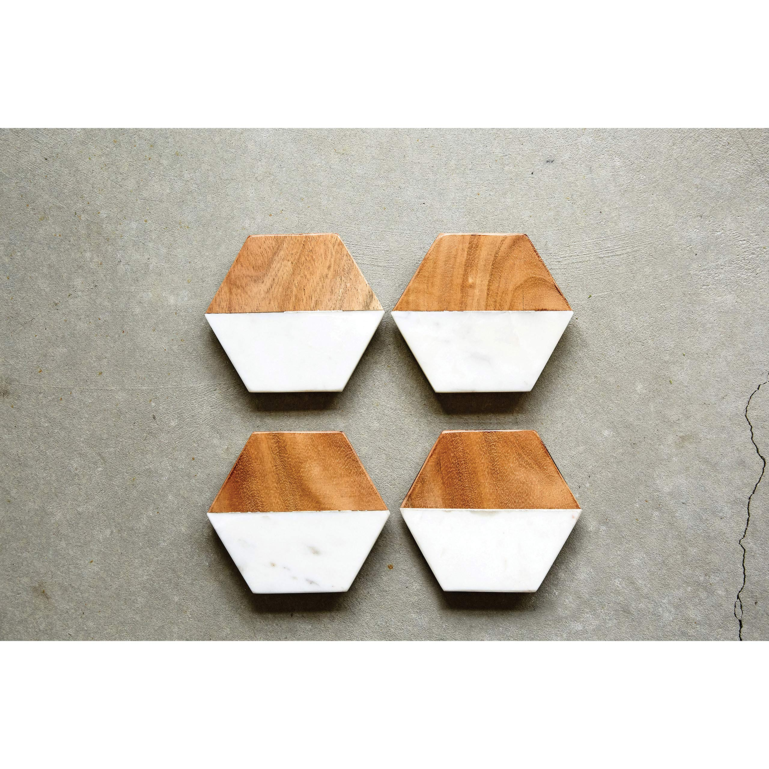 Creative Co-Op DA6336 Set of 4 Marble & Mango Wood Hexagon Coasters by Creative Co-op (Image #3)
