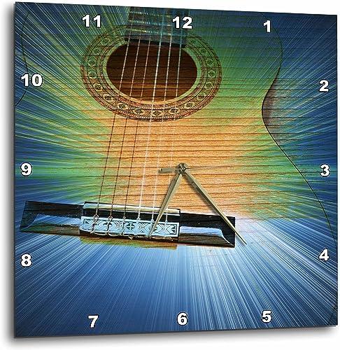 3dRose LLC DPP_29262_3 Wall Clock, 15 by 15-Inch, Blue and Green Cosmic Guitar Music