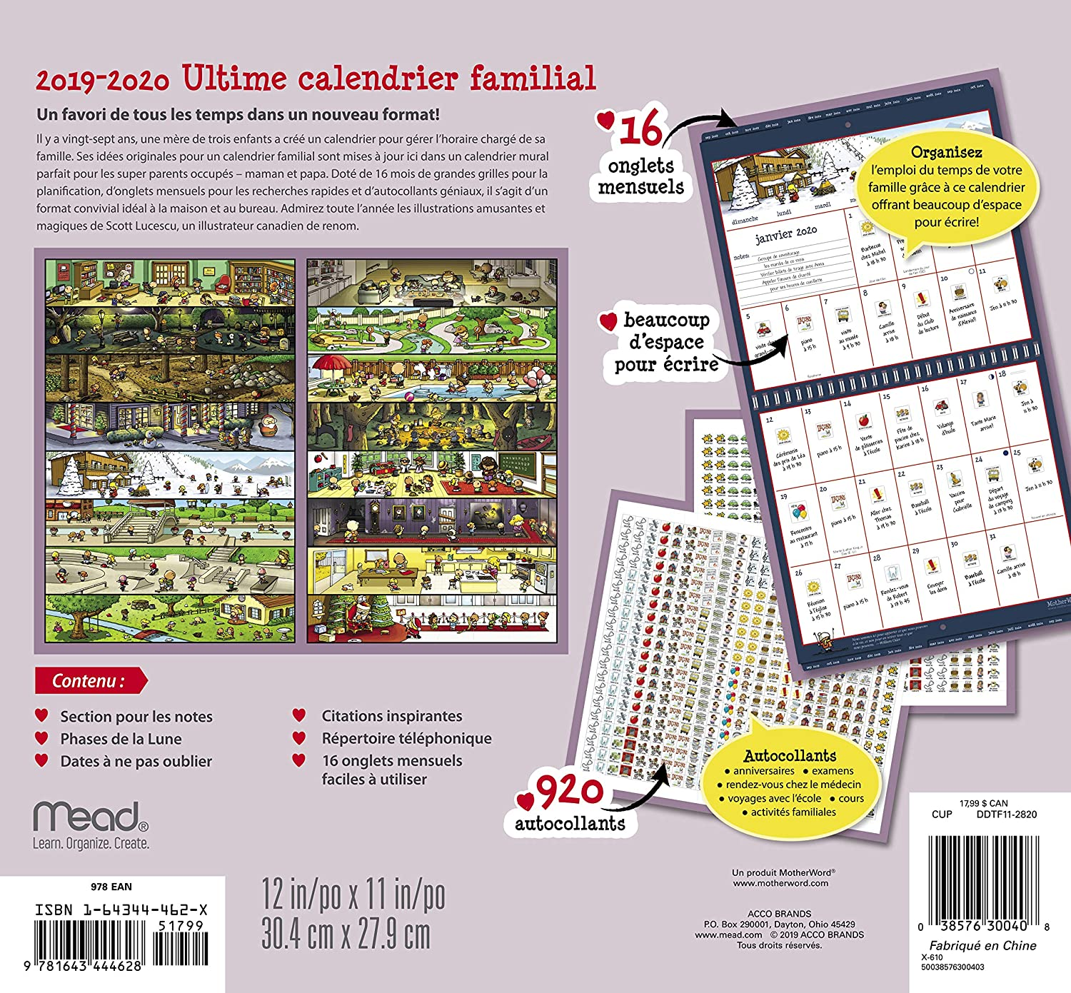 Calendrier 1919.Motherword Ultimate Family Wall Calendar 16 Month Sept 2019 Dec 2020 French Small Tabbed Version 12 X 11 Inches Ddtf11 2820
