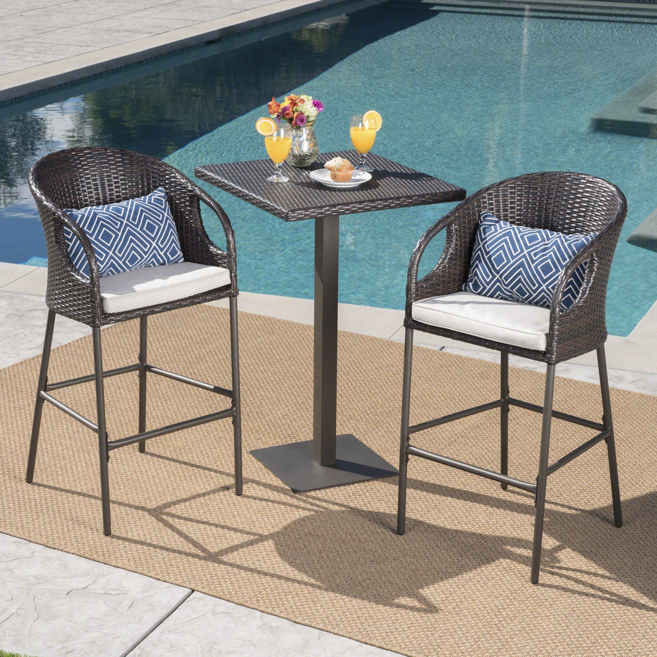 Great Deal Furniture Big Rock Outdoor 3 Piece 40 Inch Multibrown Wicker Square Bar Set with Light Brown Water Resistant Cushions