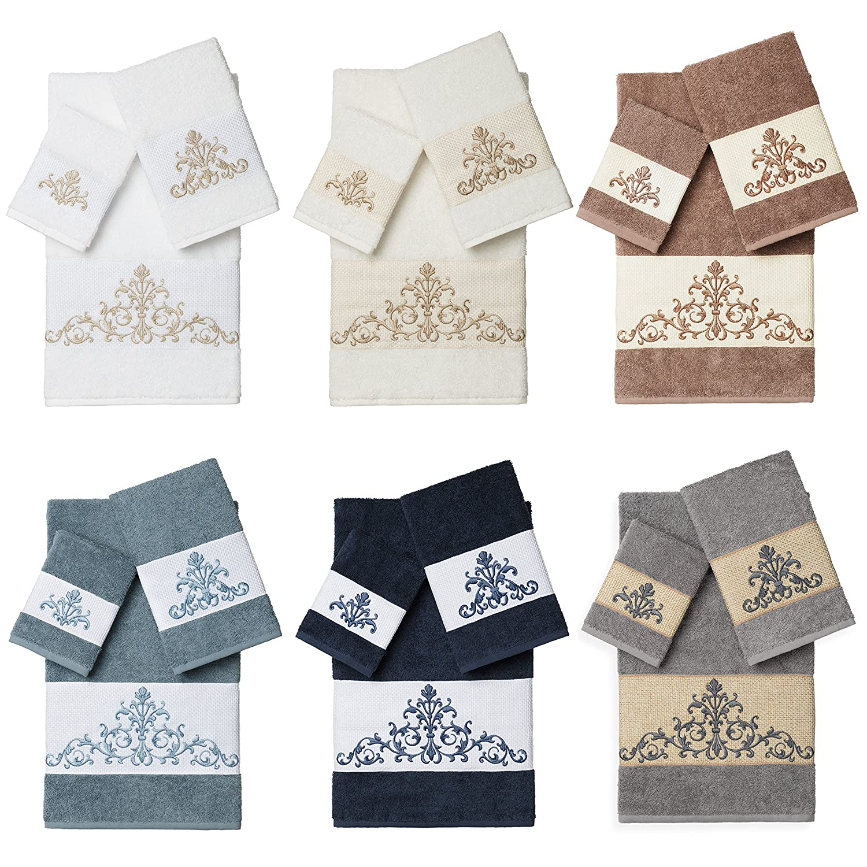Linum Home Textiles Scarlet 3PC Embellished Towel Set Midnight Blue EMH50-3C-SCARLET
