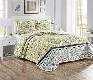 Better Home Style 3 Piece Floral Medallion Design Luxury Lush Soft Flowers Printed Design Quilt Coverlet Bedspread Oversized Bed Cover Set # Sara (Yellow, King/Cal-King)